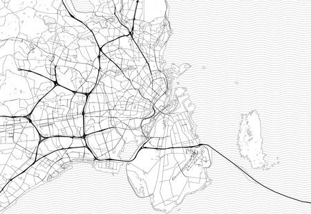 Lageplan von Kopenhagen, Dänemark. Diese Artmap von Kopenhagen enthält geographische Linien für Landmasse, Wasser, Haupt- und Nebenstraßen.