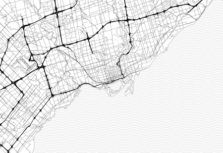 Area map of Toronto, Canada. This artmap of Toronto contains geography lines for land mass, water, major and minor roads.