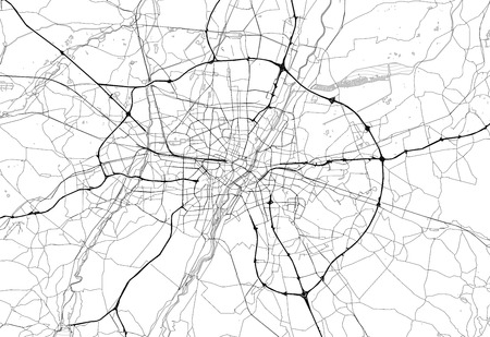 Area map of Munich, Germany. This artmap of Munich contains geography lines for land mass, water, major and minor roads.