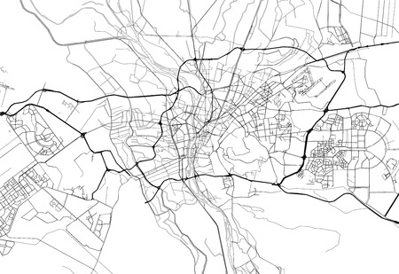 Area map of Cairo, Egypt. This artmap of Cairo contains geography lines for land mass, water, major and minor roads. 向量圖像
