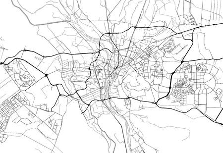 Carte de la région du Caire, Egypte. Cette carte d'art du Caire contient des lignes géographiques pour la masse terrestre, l'eau, les routes principales et secondaires.