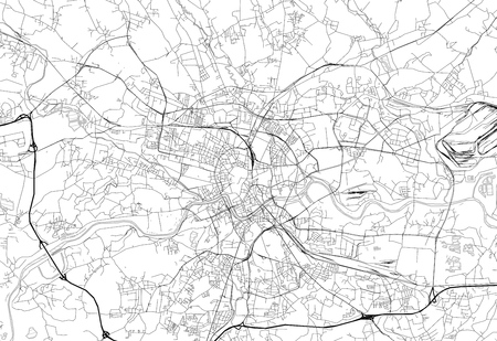 Area map of Krakow, Poland. This artmap of Krakow contains geography lines for land mass, water, major and minor roads.