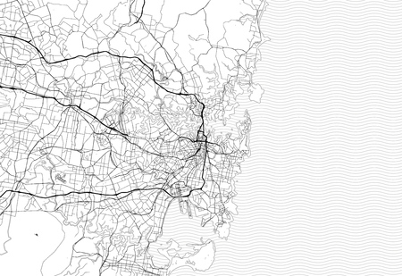 Area map of Sydney, Australia. This artmap of Sydney contains geography lines for land mass, water, major and minor roads. Ilustrace