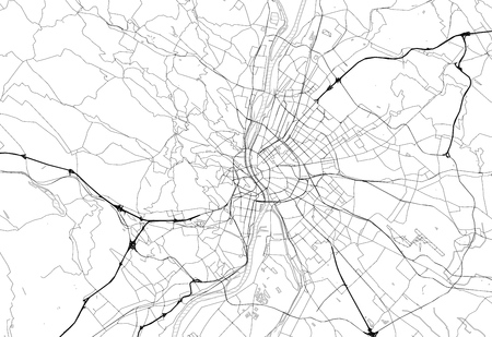 Area map of Budapest, Hungary. This artmap of Budapest contains geography lines for land mass, water, major and minor roads.