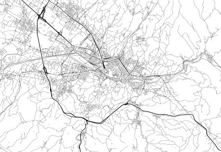 Area map of Florence, Italy. This artmap of Florence contains geography lines for land mass, water, major and minor roads.