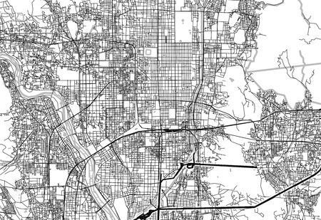 Gebiedskaart van Kyoto, Japan. Deze kunstkaart van Kyoto bevat geografische lijnen voor landmassa, water, hoofd- en secundaire wegen.