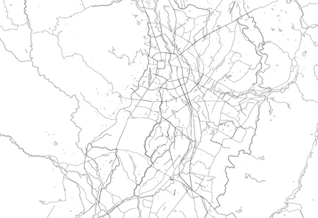 Area map of Chiang Mai, Thailand. This artmap of Chiang Mai contains geography lines for land mass, water, major and minor roads.