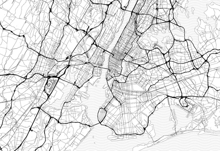 Area map of New York City, United States. This artmap of New York City contains geography lines for land mass, water, major and minor roads.