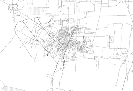 Area map of Siem Reap, Cambodia. This artmap of Siem Reap contains geography lines for land mass, water, major and minor roads.