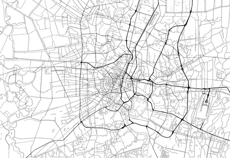 Area map of Bangkok, Thailand. This artmap of Bangkok contains geography lines for land mass, water, major and minor roads.