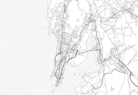 Area map of Mumbai, India. This artmap of Mumbai contains geography lines for land mass, water, major and minor roads.