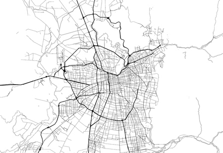 Area map of Santiago, Chile. This artmap of Santiago contains geography lines for land mass, water, major and minor roads.