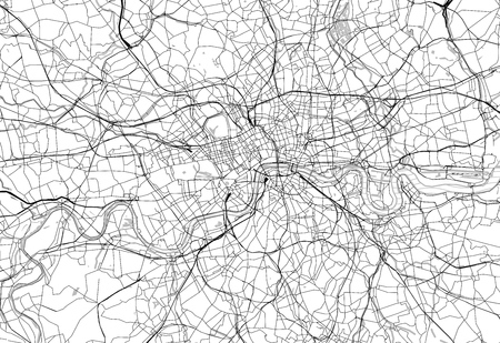Area map of London, United Kingdom. This artmap of London contains geography lines for land mass, water, major and minor roads.