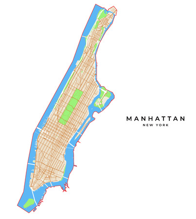 Vector map of Manhattan, New York, USA. Various colors for streets, parks, water and border. Illustration