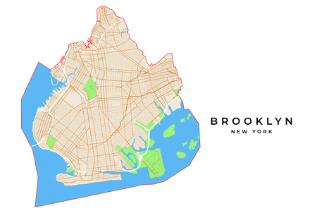 Vector map of Brooklyn, New York, USA. Various colors for streets, parks, water and border.
