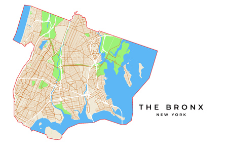 Vector map of The Bronx, New York, USA. Various colors for streets, parks, water and border.