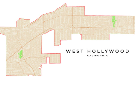 Vector map of West Hollywood, California, USA. Various colors for streets, parks, water and border. 向量圖像