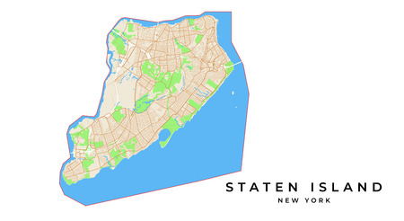 Vector map of Staten Island, New York, USA. Various colors for streets, parks, water and border.