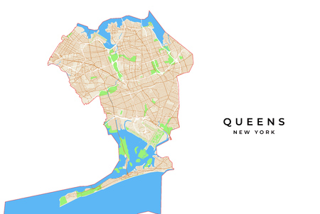 Vector map of Queens, New York, USA. Various colors for streets, parks, water and border. Illustration