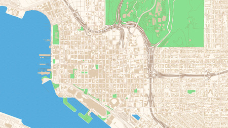 Street map of San Diego, California. This classic colored map of San Diego contains several shapes for highways, bigger and smaller streets, water and parks as well as buildings.