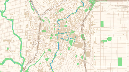 Street map of San Antonio, Texas. This classic colored map of San Antonio contains several shapes for highways, bigger and smaller streets, water and parks as well as buildings. Ilustração