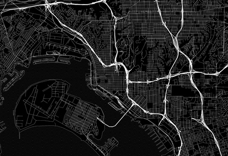 Black map of downtown San Diego, U.S.A. This vector artmap is created as a decorative background or a unique travel sign.