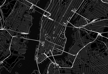 Black map of downtown New York City. This vector artmap is created as a decorative background or a unique travel sign.