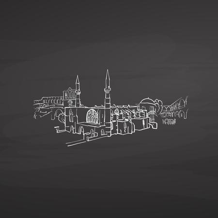 Nicosia Cyprus signs on blackboard. Digital chalk drawn vector sketch on blackboard. European capitals destinations. 일러스트