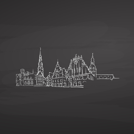 Riga Latvia signs on blackboard. Digital chalk drawn vector sketch on blackboard. European capitals destinations.