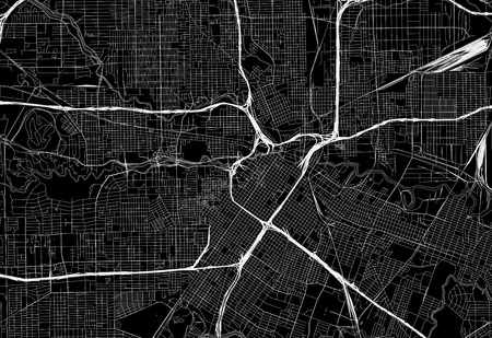 Black map of downtown Houston, U.S.A. This vector artmap is created as a decorative background or a unique travel sign.