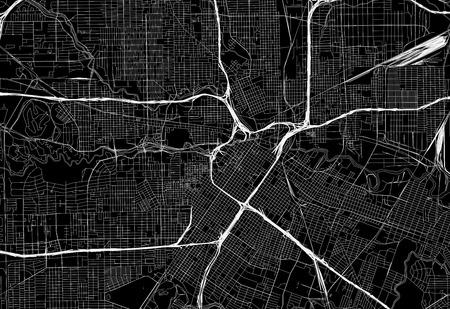 Schwarze Karte der Innenstadt von Houston, USA Diese Vektorartkarte wird als dekorativer Hintergrund oder als einzigartiges Reisezeichen erstellt.