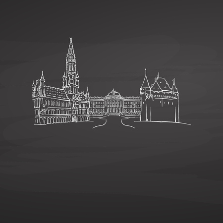 Brussels Belgium signs on blackboard. Digital chalk drawn vector sketch on blackboard. European capitals destinations.
