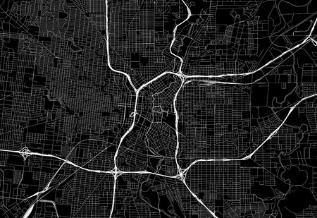 Black map of downtown San Antonio, U.S.A. This vector artmap is created as a decorative background or a unique travel sign. Vectores