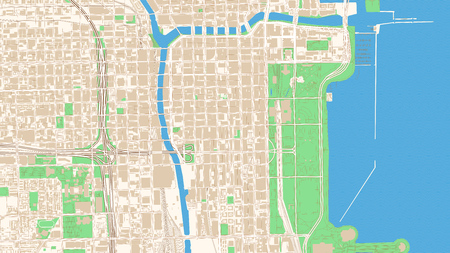 Street map of Chicago, Illinois. This classic colored map of Chicago contains several shapes for highways, bigger and smaller streets, water and parks as well as buildings. Illustration