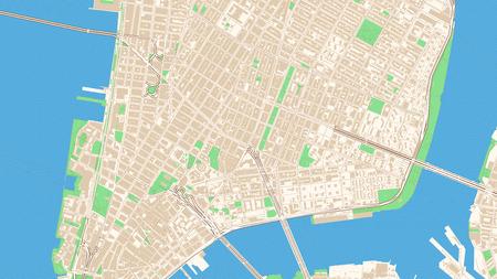 Klassische Straßenkarte von Manhattan, New York City. Diese klassisch farbige Karte von Manhattan enthält verschiedene Formen für Autobahnen, größere und kleinere Straßen, Wasser und Parks sowie Gebäude.