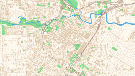Street map of Houston, Texas. This classic colored map of Houston contains several shapes for highways, bigger and smaller streets, water and parks as well as buildings. Illustration