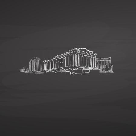Athen Griechenland unterschreibt auf Tafel. Digitale Kreide gezeichnete Vektorskizze auf Tafel. Reiseziele in europäischen Hauptstädten.