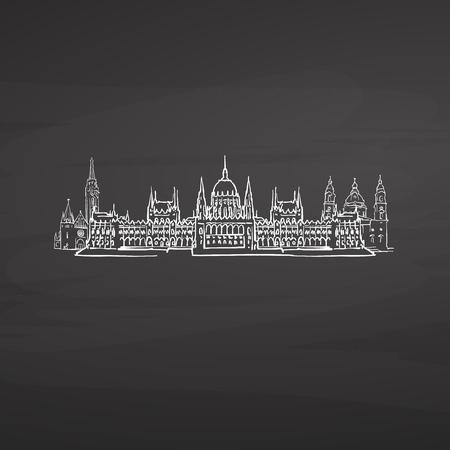 Budapest Hungary signs on blackboard. Digital chalk drawn vector sketch on blackboard. European capitals destinations. Vektorové ilustrace