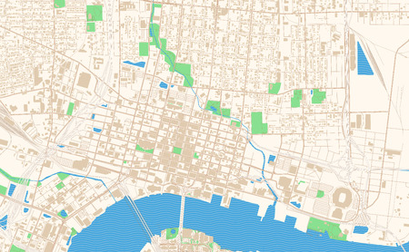 Jacksonville Florida printable map excerpt. This vector streetmap of downtown Jacksonville is made for infographic and print projects.