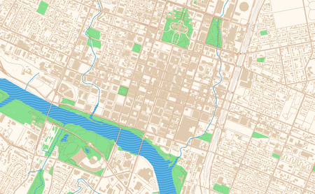 Austin Texas printable map excerpt. This vector streetmap of downtown Austin is made for infographic and print projects. Illustration