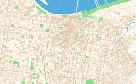Louisville Kentucky printable map excerpt. This vector streetmap of downtown Louisville is made for infographic and print projects. Illustration
