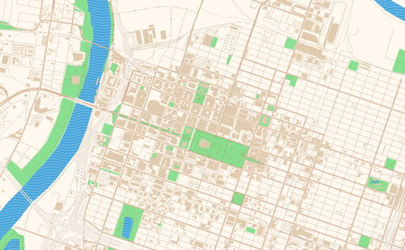 Sacramento California printable map excerpt. This vector streetmap of downtown Sacramento is made for infographic and print projects.