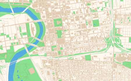 Columbus Ohio printable map excerpt. This vector streetmap of downtown Columbus is made for infographic and print projects. Illustration