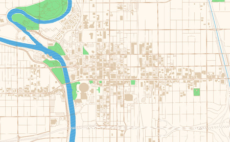 Wichita Kansas printable map excerpt. This vector streetmap of downtown Wichita is made for infographic and print projects.