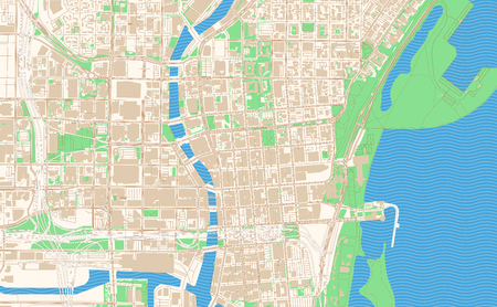 Milwaukee Wisconsin printable map excerpt. This vector streetmap of downtown Milwaukee is made for infographic and print projects. Illustration