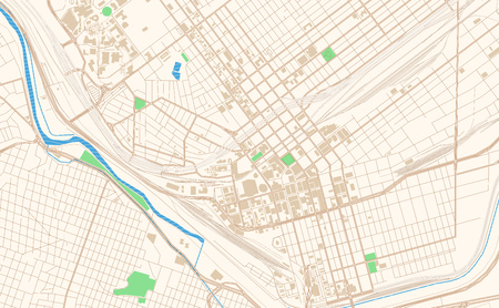 El Paso Texas printable map excerpt. This vector streetmap of downtown El Paso is made for infographic and print projects. Иллюстрация