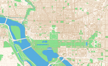 Washington D.C. printable map excerpt. This vector streetmap of downtown Washington is made for infographic and print projects.