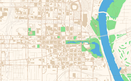 Omaha Nebraska printable map excerpt. This vector streetmap of downtown Omaha is made for infographic and print projects.