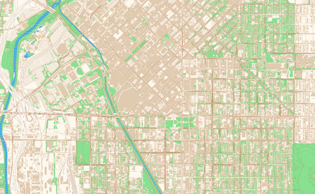 Denver Colorado printable map excerpt. This vector streetmap of downtown Denver is made for infographic and print projects.