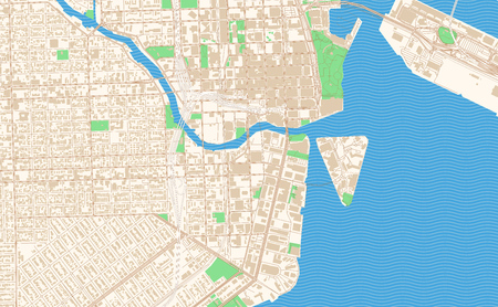 Miami Florida printable map excerpt. This vector streetmap of downtown Miami is made for infographic and print projects.